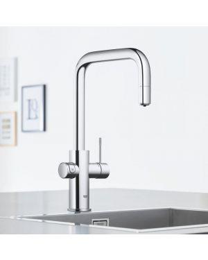 Grohe Blue Home die NEUE Küchenarmatur mit Filterfunktion, U-Auslauf ausziehbar chrom